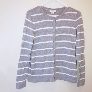 Loft Gray & White Striped Cotton Cardigan